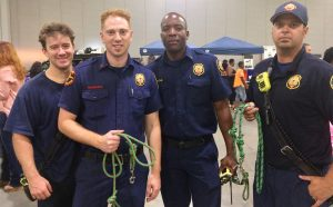 Firefighters with newly made leashes