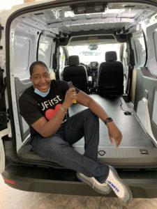 Erica Wright in the van