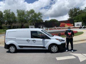 Erica Wright with the van
