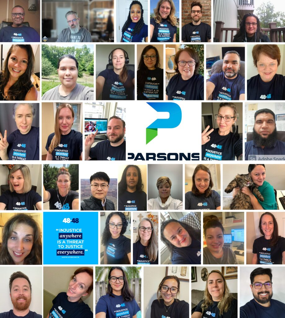 Collection of portraits of Parson's employee who volunteered in the 48in48 Social Justice build event.